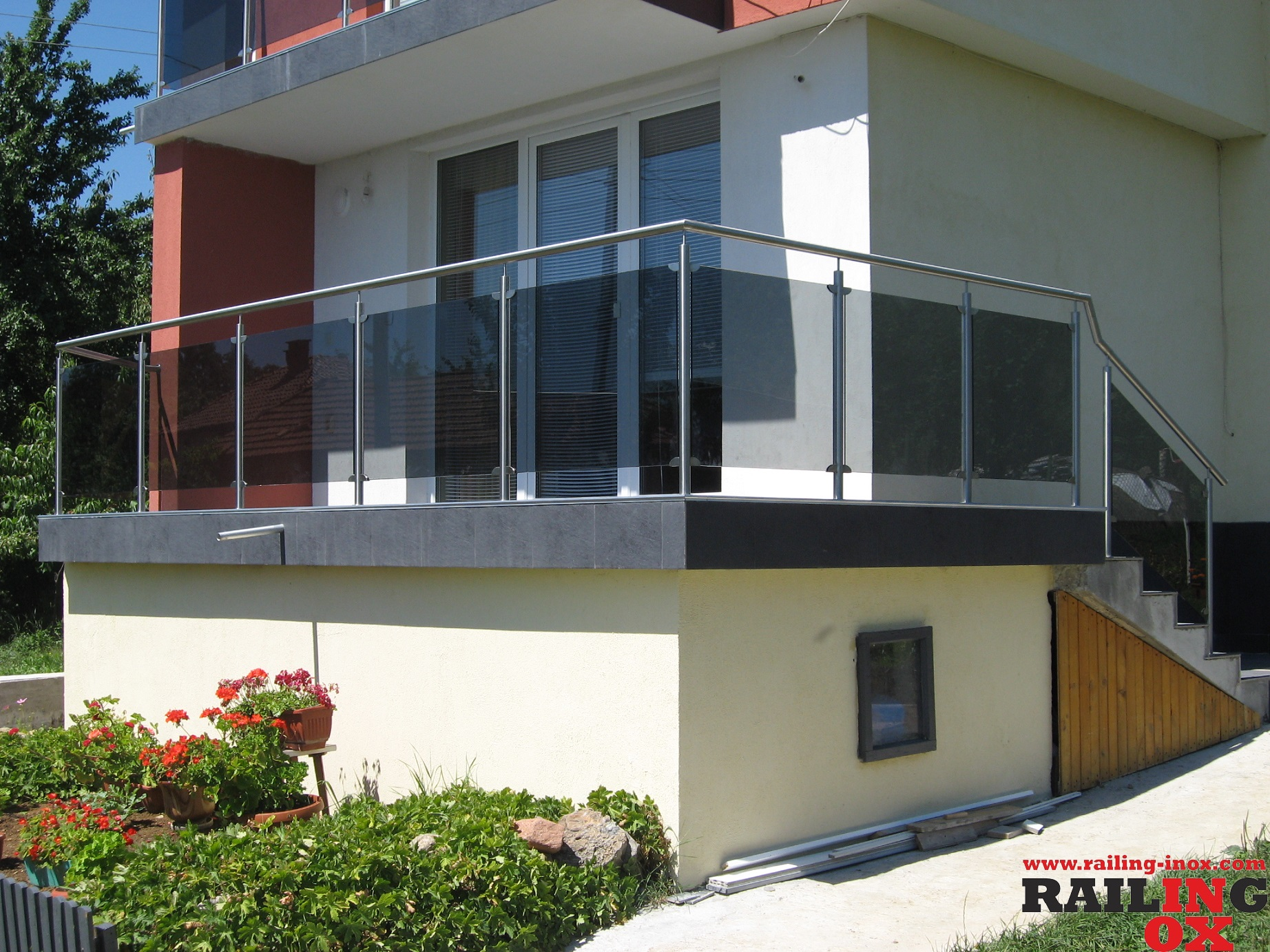 RAILINGS FROM INOX  AND GLASS